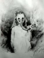 My Work... ( The Girl with the Gas Mask..) by PlainWhite-92