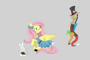 fluttershy in wonderland without background by CreaLaillia