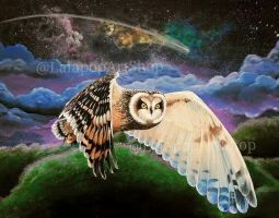 Hawaiian Owl Painting by Lolie Hermes by Robono