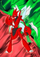 Scizor and Scyther by the-real-Payne