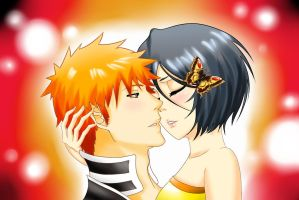 IchiRuki kiss by Bellatrix-chan
