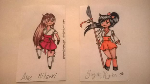 Aine and Kiyoko index cards by HelloSunniLove