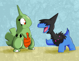 Larvitar and Deino by Jurassiczalar