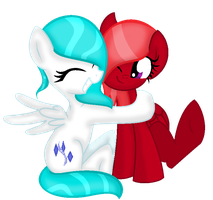 REQUEST: Icy and FireDrop Hugging by LillybugFanArtist