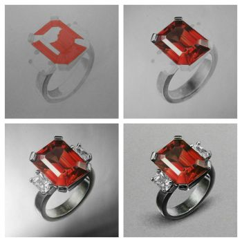 Realistic Emerald-Cut Ruby Ring - Drawing Phases by Anubhavg
