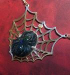 Carved spider opal pendent by jessa1155