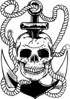 Skull and Anchor Tattoo Flash by micaeltattoo