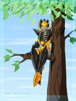 Airazor in a tree by WaywardInsecticon