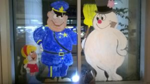 Winter Window Painting for the Police Department by dantekujo4