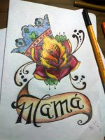 Rose Crown Banner Mama Old School Tatooo by Pompelina