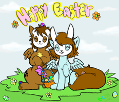 Easter Bear and Easter Bunny by SweetKeyDani