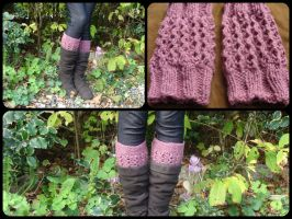 Hand knit Boot cuffs, boot toppers by noisypixie