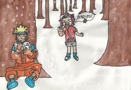 Naruto and Sakura having a snowball fight - colour by MarchOfHell