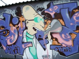 Futurama Farnsworth Grafitti by Squirtlelover