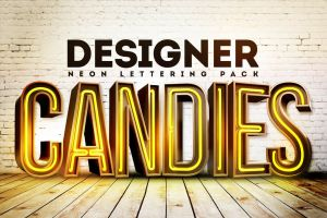 Free 3D Neon Lettering by DesignerCandies by DesignerCandies