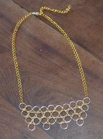 Chainmaille necklace in silver and gold colors by Nanahuatli