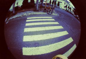 fisheye : cross the street by syalalla