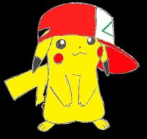 Pikachu with hat by Pokemon1234567890