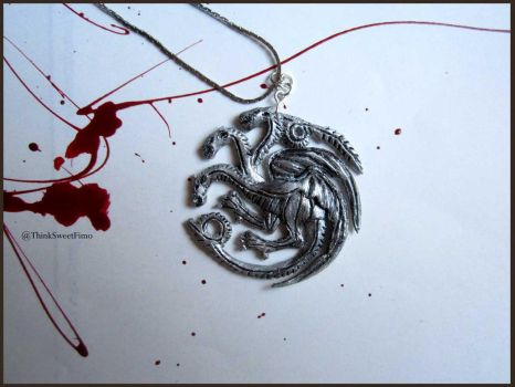 Game Of Thrones Necklace - House Targaryen by ThinkSweet