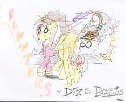 Flutters and Diz Tha' Rappin' Draconequus by Foshi64