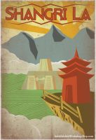 Retro Shangri La Travel Poster by IndelibleInkWorkshop