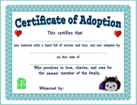 Certificate Of Wiggler Adoption 1 by LuckyLadyXandra