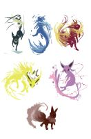 Eevee Evolutions by redsheis