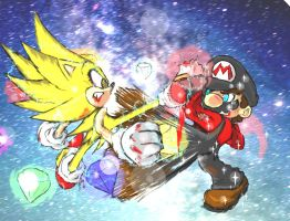 Sonic VS Mario final round by Bomber-Barbara