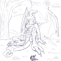 Chillin' like a Polarage - Sketch'd by G3Drakoheart-Arts