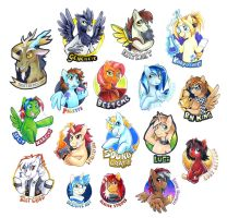 MLPFIM Bronycon 2014 Badges by Tigsie