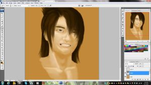 Okita -attempt at a realistic painting via Photosh by HACKproductions
