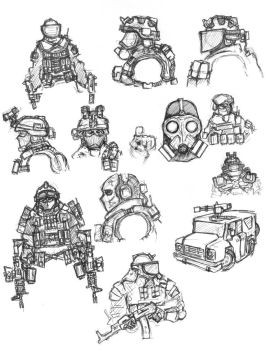 SITE 14 character sketches by darkpaladin07