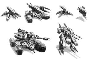 Mechs and Tanks ideation sketches by JohnMcCambridge