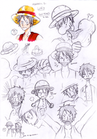 Luffy sketches by HoshiDKCrow