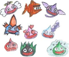 Some slimes and some other I've created. by LauraChisbert