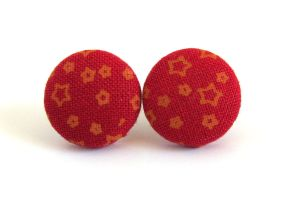 Post earrings studs stars orange red tangerine by KooKooCraft