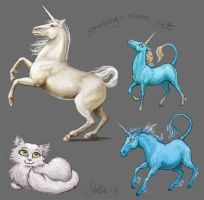 Three unicorns and a cat by Devilry