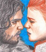 Jon Snow and Ygritte by Mirine13
