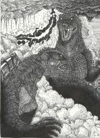 G3 GAMERA VS. GMK GODZILLA by PrinceofGhouls
