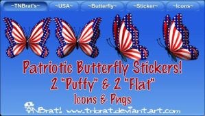 Patriotic Butterfly Stickers by TNBrat