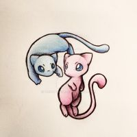 Mew and Shiny by Brontonia