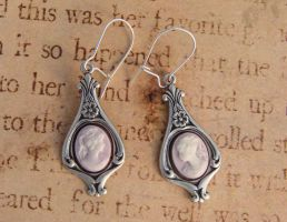 Victorian Ladies Cameo Earrings Violet by FusedElegance
