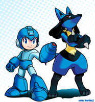 Mega Man and Lucario by WaniRamirez