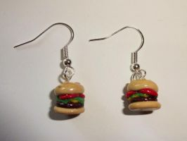 Cheeseburger Earrings by ByToothAndClaw