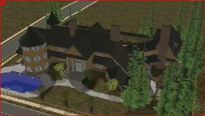 Sims2 log mansion by RamboRocky