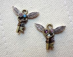 Steampunk Mini Winged Key Charms by WaterGleam