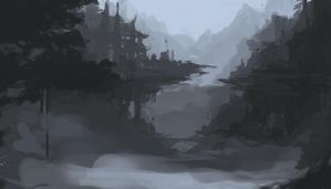 Misty Valley Scene Painting (WIP) by nin-mario64