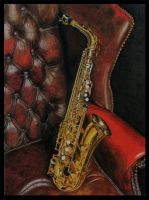 Alto Sax on a Leather Chair by Brendan65