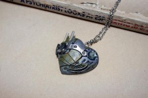 Gray Steampunk heart pendant by Catarios