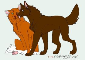 Wolf and Fox by PancakeSam